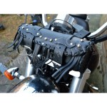 Motorcycle Black Leather Tool Roll With Rivets And Tassels Chrome Cruisers