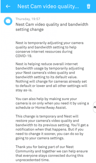Nest Qaulity Change