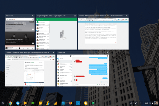 Mode Tablet Chromebook Memperoleh Layar Split