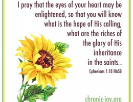 Ephesians 1:18 I pray that the eyes of your heart