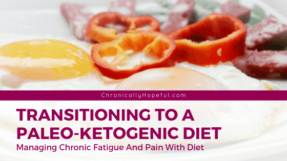 A plate of fried eggs, salami and red pepper. Title reads: Transitioning to a paleo-ketogenic diet. Managing chronic fatigue and pain with diet