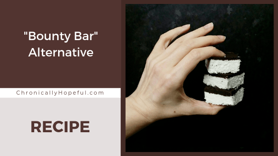 Char's hand holding a stack of 3 coconut treats. Title reads: Bounty bar alternative recipe.
