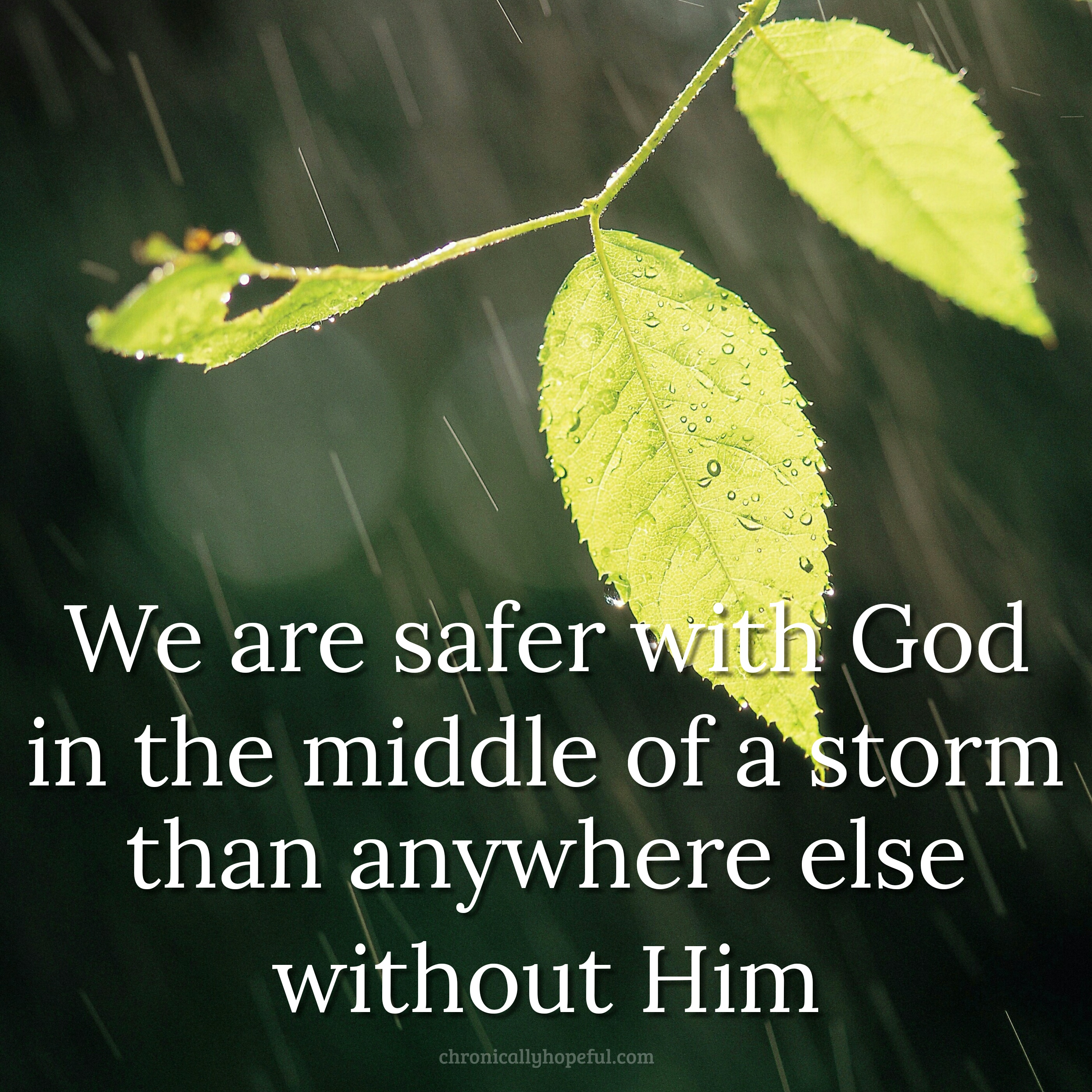 Leaved in a rain storm. Quote reads, We are safer with God in the middle of a storm than anywhere else without him.