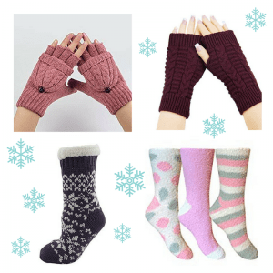 Fluffy socks and fingerless gloves