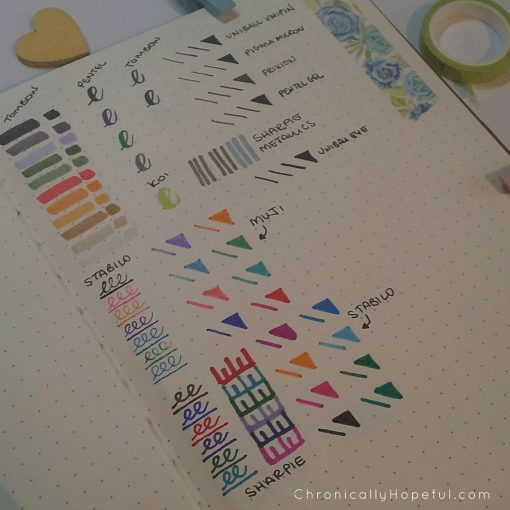 Journal Pen swatches, front