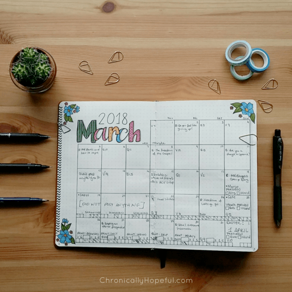 Bullet Journal, March monthly spread