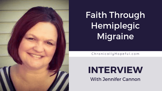 Jennifer has dark, bob cut hair, she is wearing a stripy, sleeveless top, smiling. Title reads Faith Through Hemiplegic Migraine, Interview with Jennifer Cannon, by Chronically Hopeful