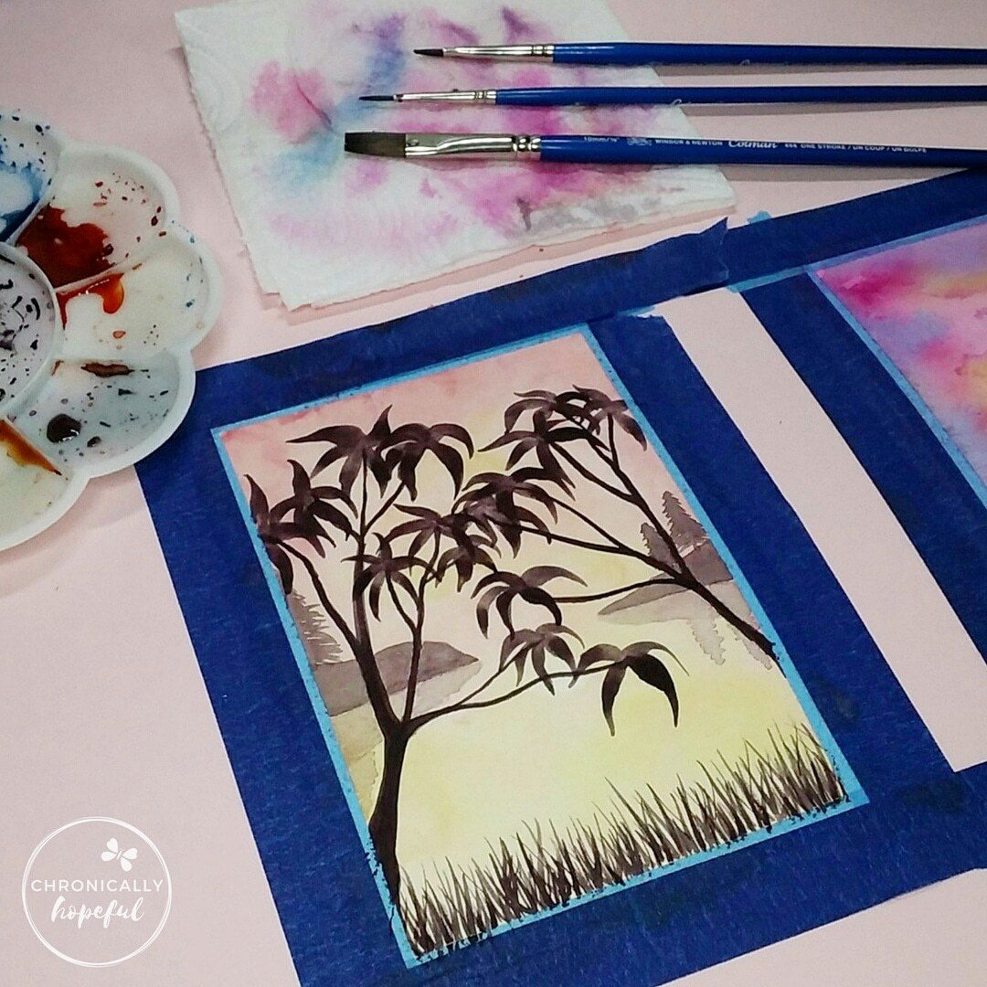 The 100 Day Project, Watercolour Sunset, Orange Trees