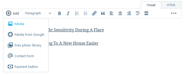 Screenshot of WordPress dashboard showing the Text Editor - adding graphic links