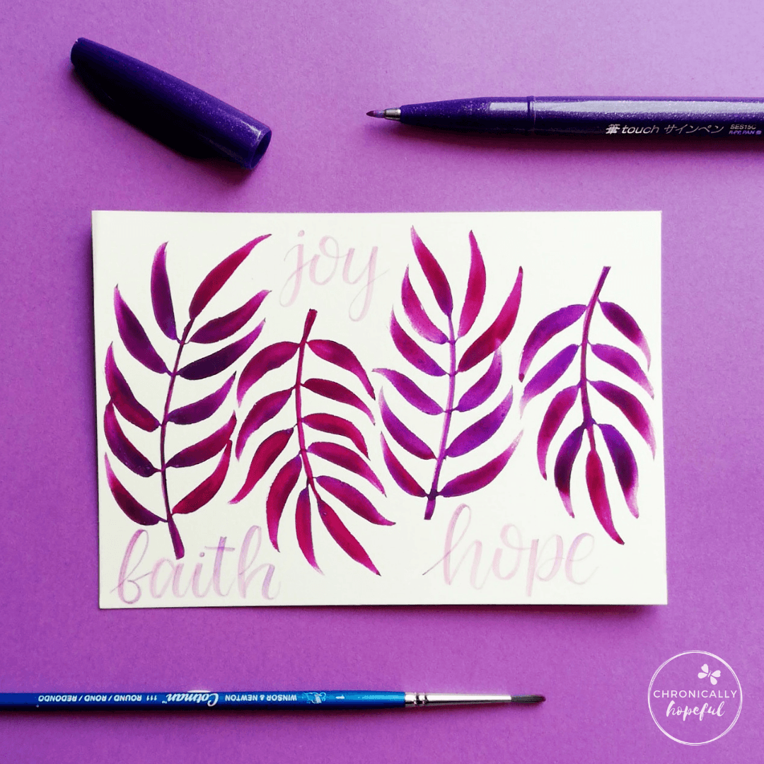 Four watercolour leaves in purple on white card, the words Faith, Joy, Hope lettered among them, by Chronically Hopeful Char