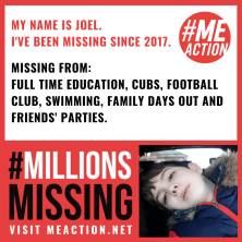Joel's been missing from full time education, cubs, football, swimming, afamily days out since 2017. Picture of Joel luing down, looking exhausted and sad.