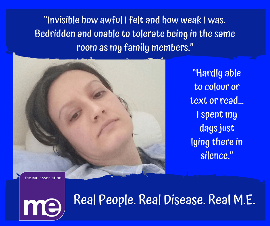 Char flaring, lying in bed, exhausted and in pain. Part of the ME Association's The Real ME Campaign