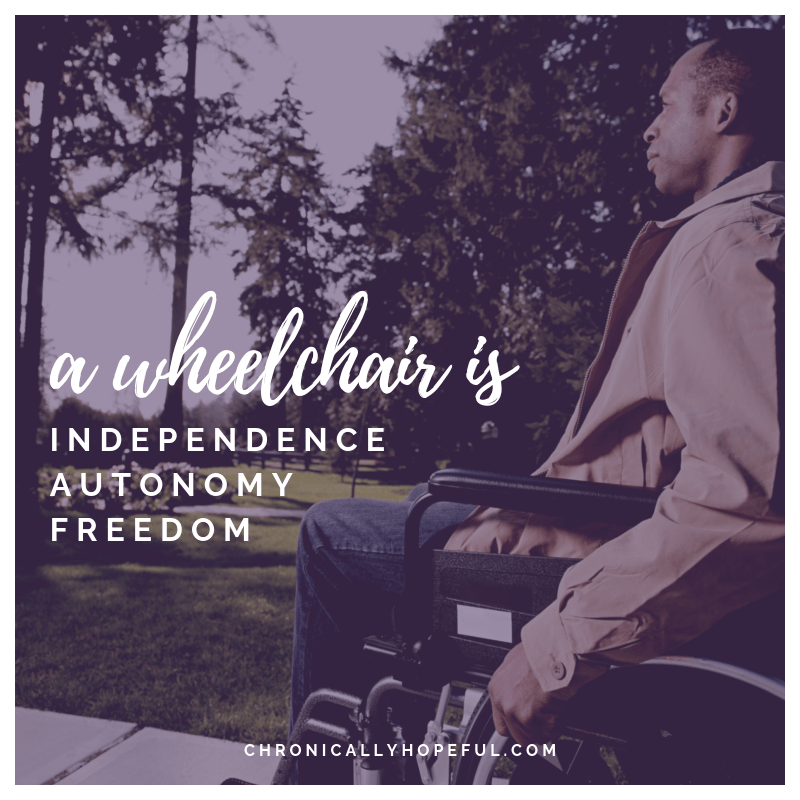 A man in a wheelchair enjoying an outing in a park. Quote reads, A wheelchair is independence, autonomy, freedom.