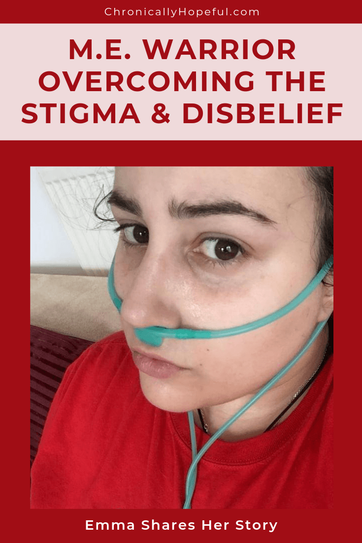 ME warrior overcoming stigma and disbelief. Emma shares her story. Emma wearing a red Millions Missing shirt, with oxygen tube in her nose.