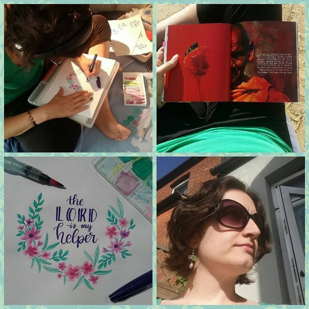 A collage of Char doing various activities. Drawing, reading, painting and standing in the sunshine.