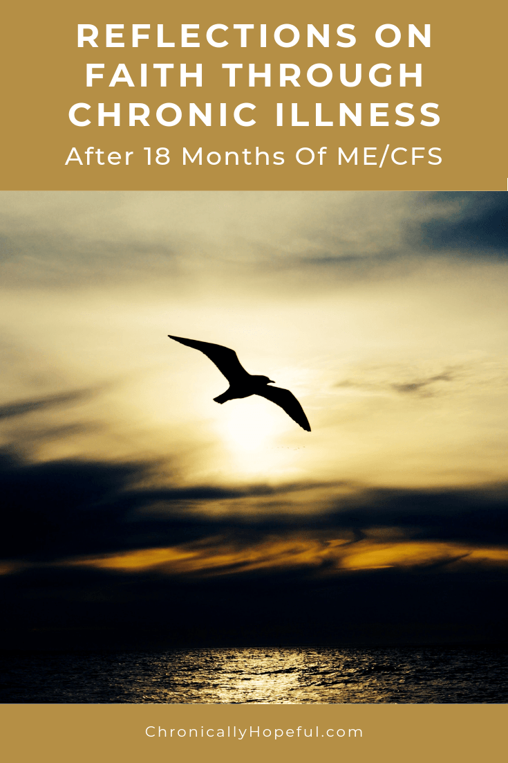 A bird soaring in the sunset sky. Title reads: Reflections on faith through chronic illness after 18 months of ME/cfs