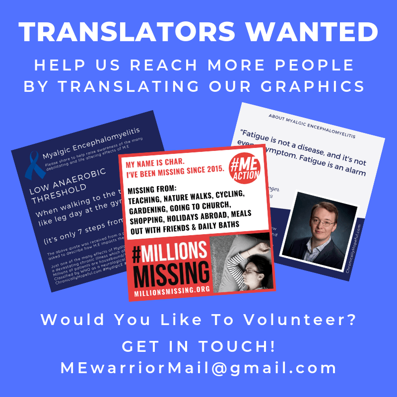 a collage of 3 awareness pictures. Title reads: Translators wanted. help us reach more people by translating our graphics. Would you like to volunteer?