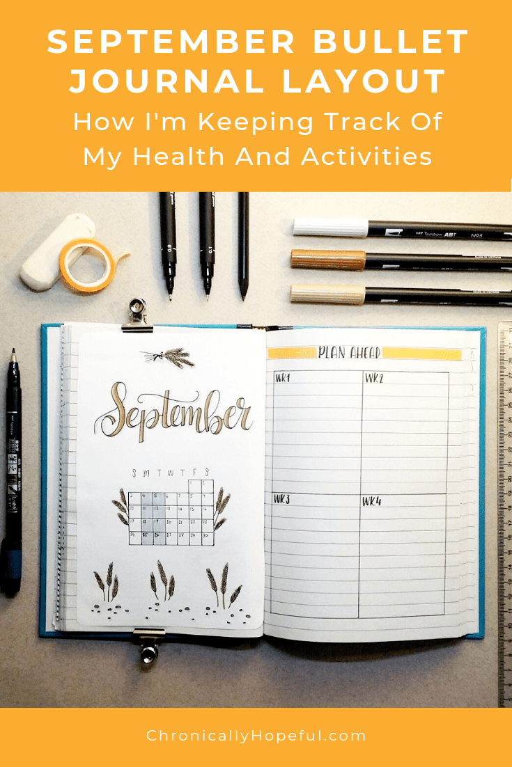 An open journal featuring the September layout. Title reads: September layout, how I'm tracking my health and activities.