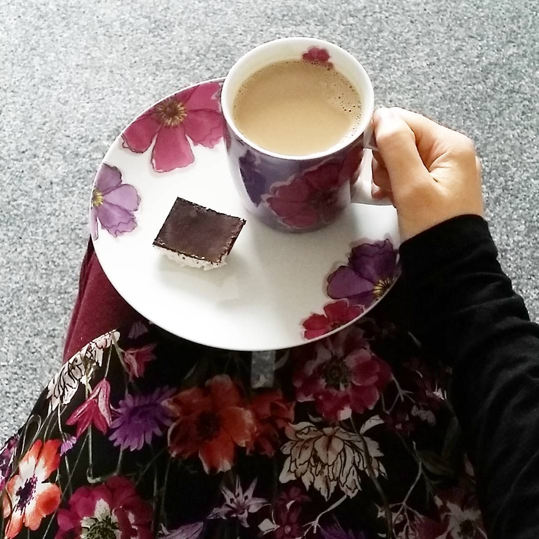 Paleo-ketogenic bounty bar and a cup of coffee