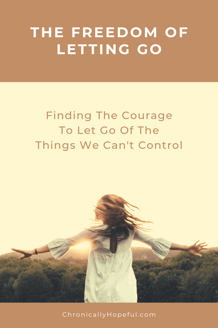 A woman dancing in a field at sunset. TItle reads: the freedom of letting go. Finding the courage to let go of the things we can't control.