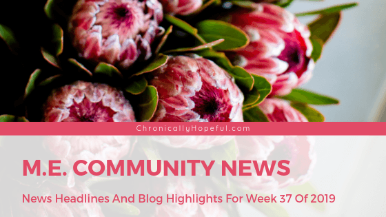 Picture of large pink proteas, Title reads: M.E. Community News, News headlines and blog highlights from week 37 of 2019