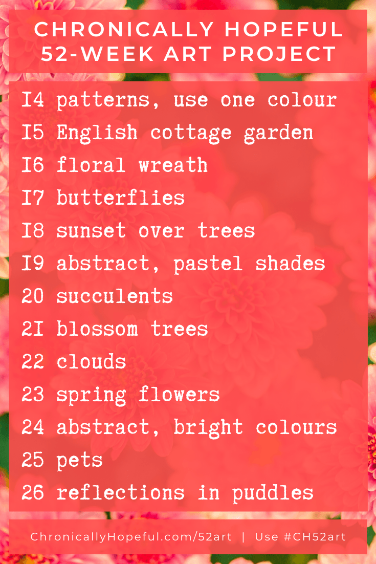 List of prompts for Spring, Chroincally Hopeful 52-Week Art Project