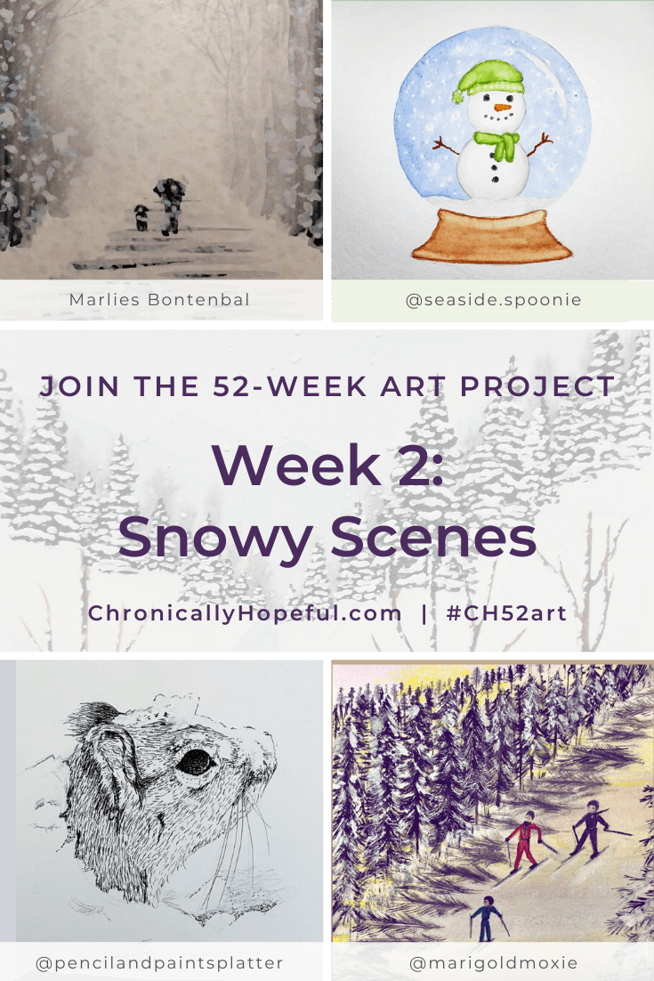 Various pieces of art featuring snowy winter scenes. Title reads: Week 2, Snowy Scenes, join the 52-week art project