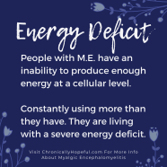 Energy Deficit in M.E.