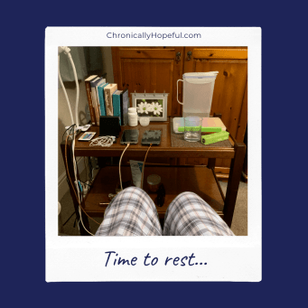 Char's bedside trolley, halfway tidied. Title reads: time to rest