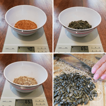 Flax, Pumpkin, Sunflower Seeds being measured and chopped