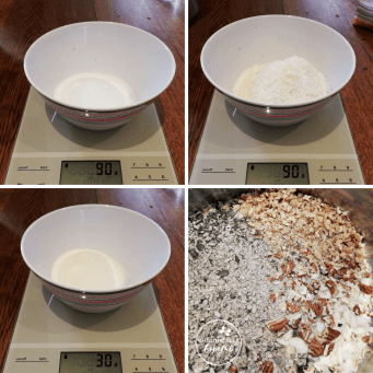 Protein, Coconut, Erythritol, being measured and mixed
