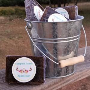 sopa displayed in a tin bucket