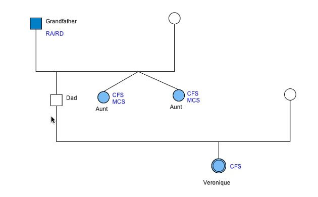 genogram with colors showing chronic illness in 3 generations