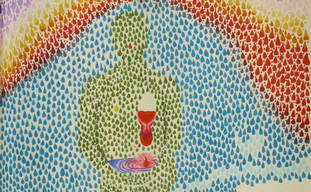Treating Chronic Illness -listening-to intuition image of self, sitting, allowing room for intuition by Veronique Mead 1999
