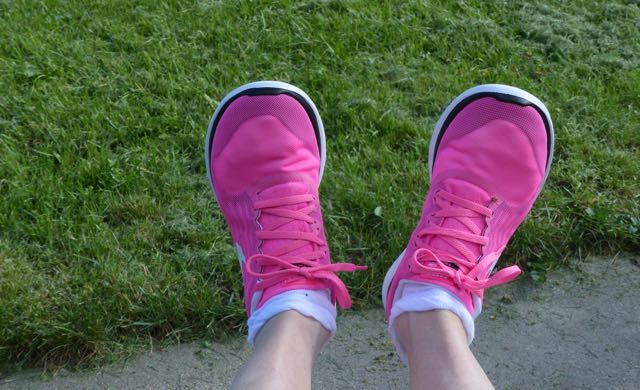 A blog post about acting out as a way to help heal stuck states of fight flight freeze and resolve chronic illness. Acting out with neon pink running shoes - even though I don't run :-)