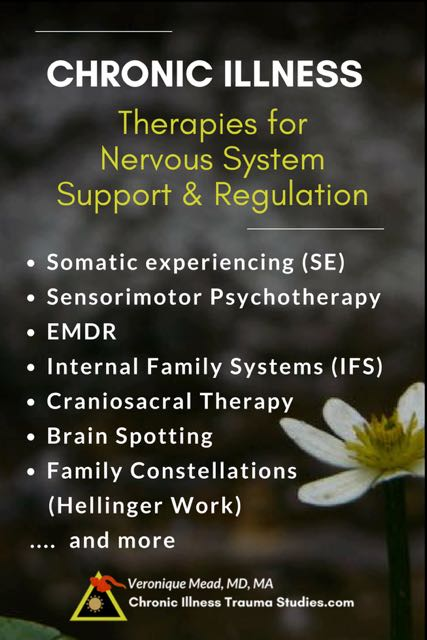 Chronic Illness Treatment. Therapies for nervous system support and regulation. Healing effects of adverse life events, subtle and overt trauma. Include somatic experiencing (SE), sensorimotor psychotherapy, EMDR, IFS, Craniosacral therapy, brain spotting, Hellinger work and other body / somatically based trauma therapies, among other tools #chronicfatigue #type1diabetes #asthma #ME/CFS #MS #RA
