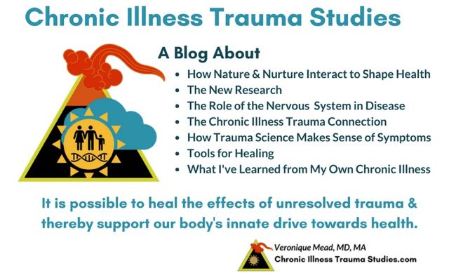 Links between chronic illness, trauma and the nervous system. A blog about the research providing new science and options for treatment, healing and recovery in chronic diseases such as MS, ME/CFS, fibromyalgia, RA rheumatoid disease (RD), IBD, heart disease, asthma, IBS and others. Mead. Chronic Illness Trauma Studies.