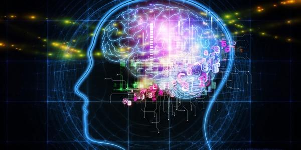 Stylized image of active human brain.