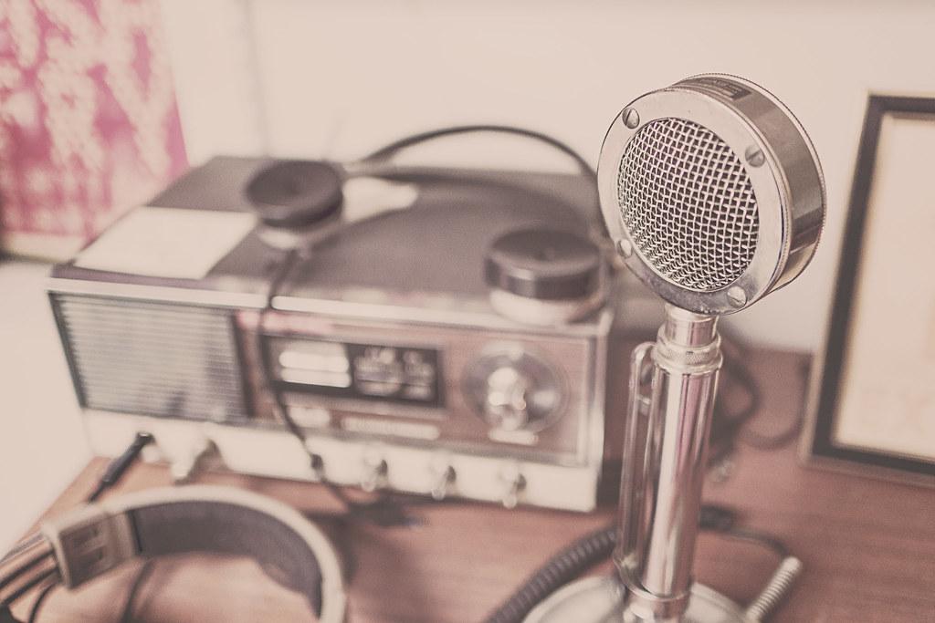 A home podcasting setup.