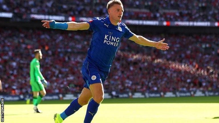 Jamie Vardy's hat-trick were his first goals of the season