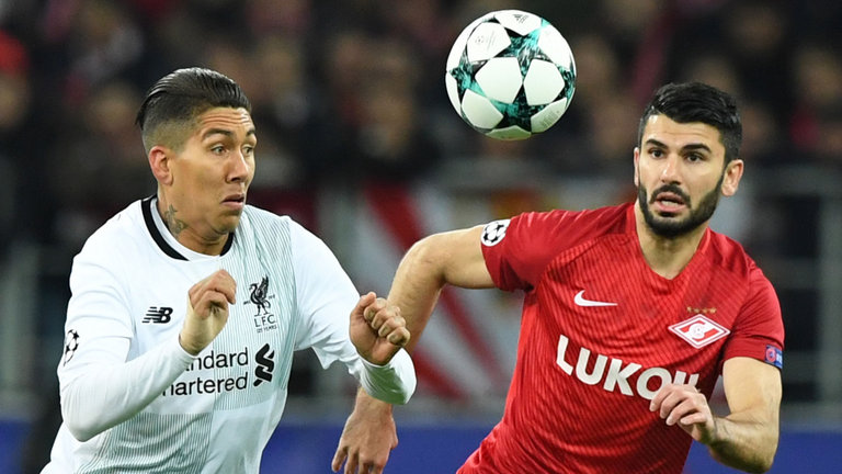 Roberto Firmino and Serdar Tasci vie for the ball