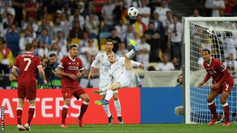Gareth Bale scored twice including a sublime overhead kick against Liverpool to hand Real Madrid their third consecutive Champions League trophy