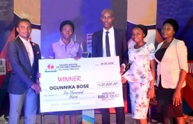 Abosede Ogunnika won the maiden edition of Anchor Bible Quiz held in Abeokuta, Ogun state