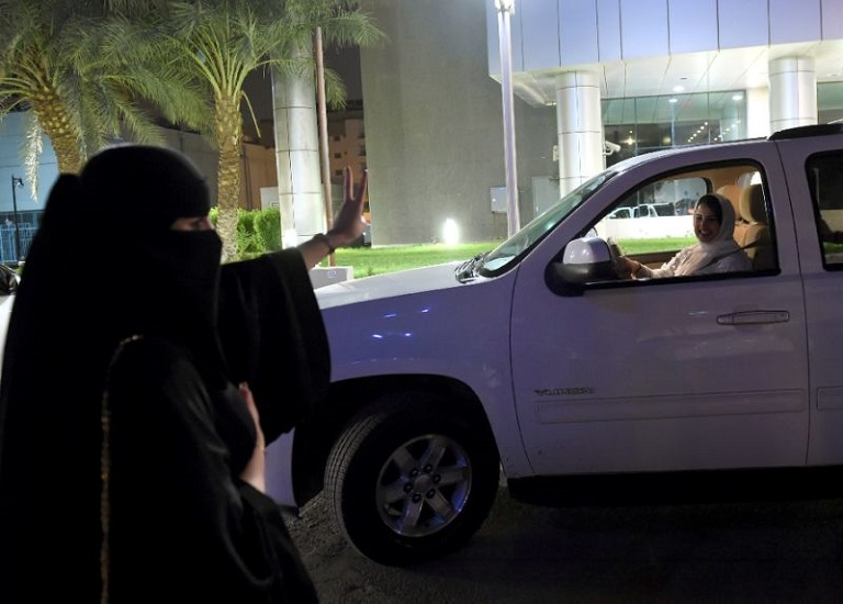 In Riyadh, Saudi Arabia many stopped Samar's white SUV to congratulate her