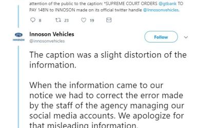 Innoson Vehicles has admitted that there was no Supreme Court judgment against Guaranty Trust Bank