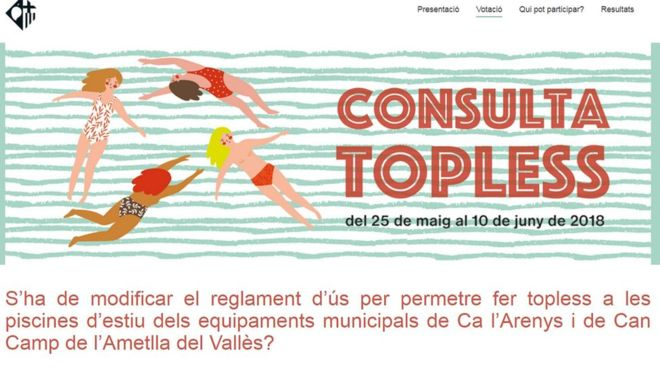 Women vote in favour of topless bathing in a Catalan village, Spain