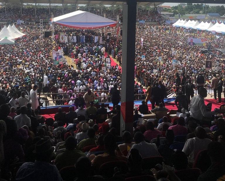 Ikot Ekpene township stadium was jam packed as Senator Akpabio defected from PDP to APC