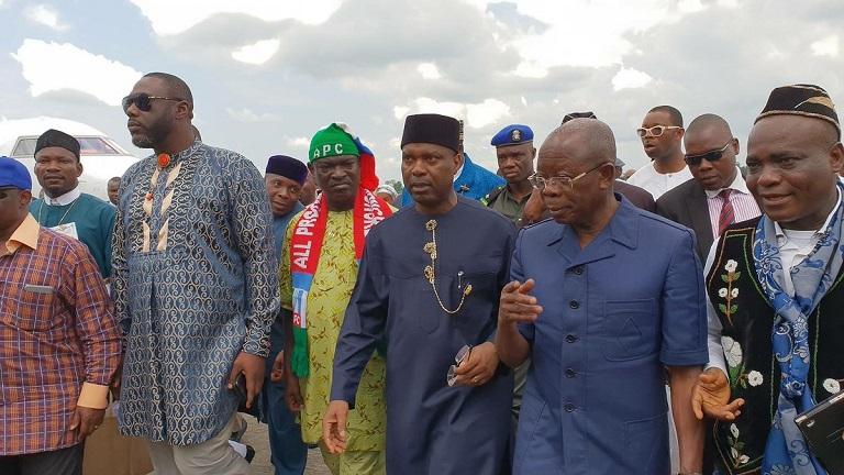 Comrade Adams Oshiomhole, national chairman of the APC was in Akwa Ibom to receive Senator Godwsill Akpabio to the ruling party