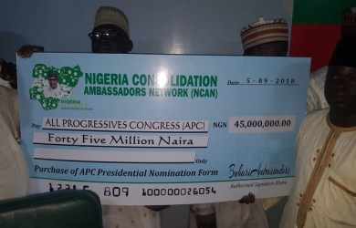 FILE: Nigeria Consolidation Ambassadors Network bought the APC presidential nomination form for President Muhammadu Buhari