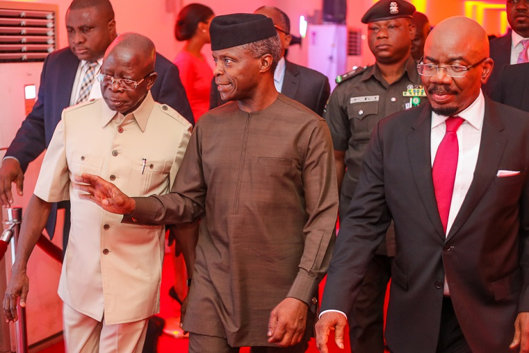 VP Yemi Osinbajo with APC National Chairman, Comrade Adams Oshiomhole (1st left) and CEO Zenith Bank, Mr. Jim Ovia (1st right)